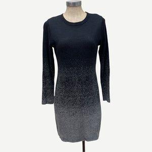 NICOLE MILLER Black to Grey Sweater Dress S